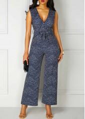 wholesale High Waist V Neck Printed Sleeveless Jumpsuit