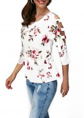 wholesale Cutout Sleeve Round Neck Flower Print T Shirt