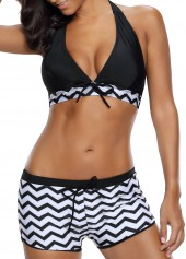 wholesale Black Halter Neck Chevron Print Two Piece Swimwear