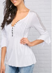 wholesale Three Quarter Sleeve Split Neck White Blouse