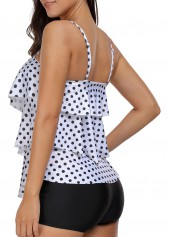 wholesale Asymmetric Hem Polka Dot Print Tankini Set