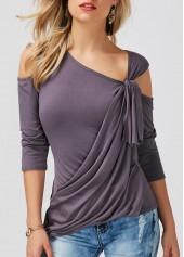 wholesale Dark Grey Cold Shoulder Asymmetric Hem T Shirt