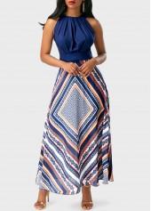 wholesale High Waist Sleeveless Patchwork Printed Dress