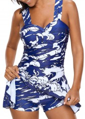 Wide Strap Selvedge Printed One Piece Swimdress