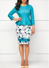 Round-Neck-Peplum-Waist-Printed-Peacock-Blue-Dress