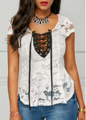 Cap-Sleeve-Lace-Up-White-Blouse