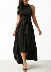 wholesale Belted Asymmetric Hem Black Maxi Dress and Cardigan