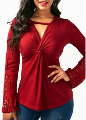 Cutout-Long-Sleeve-Patchwork-Wine-Red-Blouse