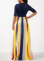 a66555e95ab ... wholesale V Neck Half Sleeve Striped Maxi Dress ...