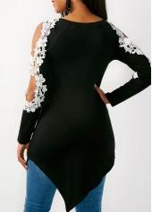 c6d1285e7bec15 ... wholesale Lace Panel Asymmetric Hem Black Blouse ...