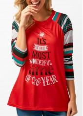 Long-Sleeve-Letter-Print-Red-T-Shirt