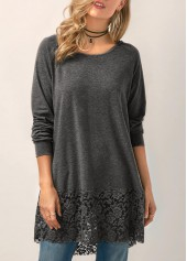 Lace-Panel-Hooded-Collar-Long-Sleeve-Grey-Blouse
