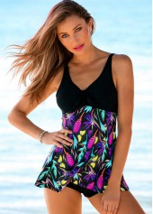 Printed V Neck Empire Swimdress and Panty