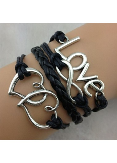 Love and Infinity Shape Embellished Black Braided Bracelet