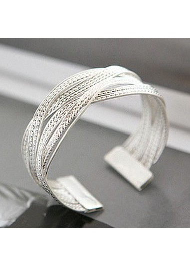 Silver Metal Twist Decorated Wide Bracelet