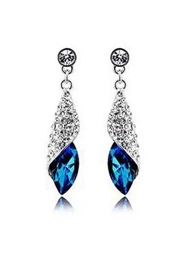 Blue Rhinestone Decorated Silver Metal Earrings