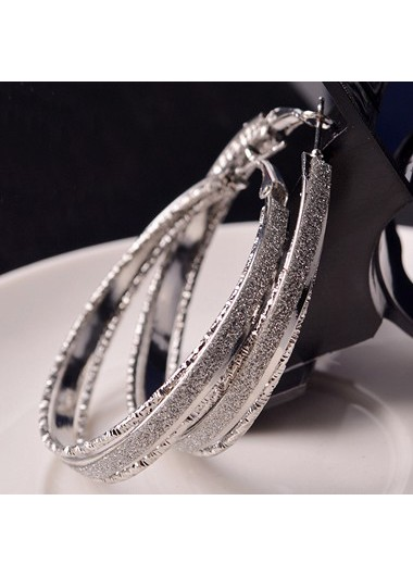 Fashion Circle Shaped Silver Metal Earrings