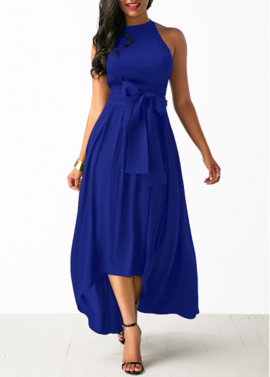 Royal Blue Cardigan and Belted Asymmetric Hem Dress