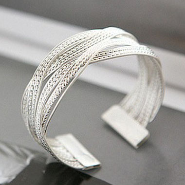 ROTITA Silver Metal Twist Decorated Wide Bracelet