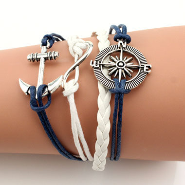 Metal Anchor and Helm Decorated Braided Bracelet