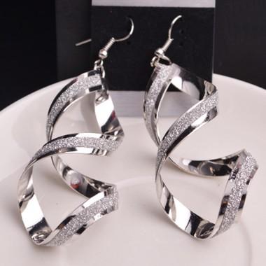 Twist Design Metal Earrings for Woman