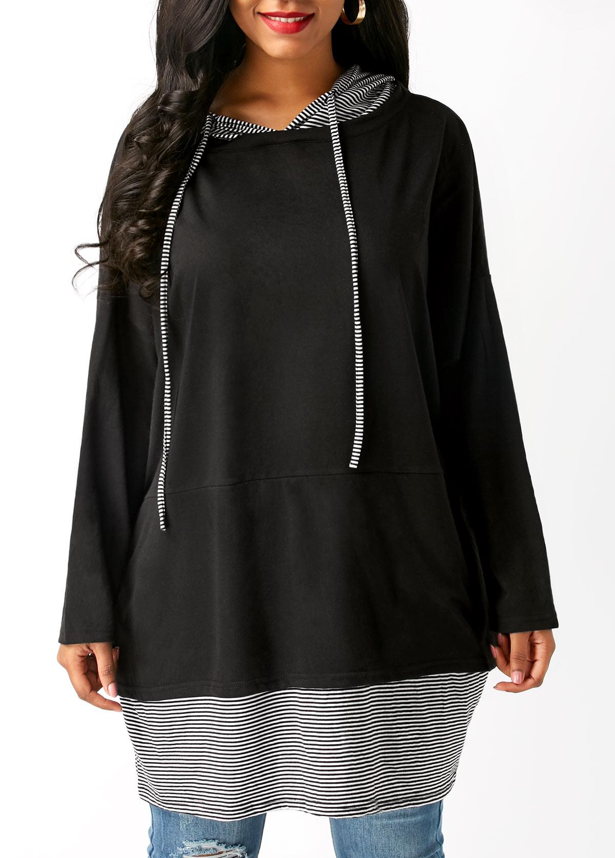 Long Sleeve Striped Drawstring Black Hoodie