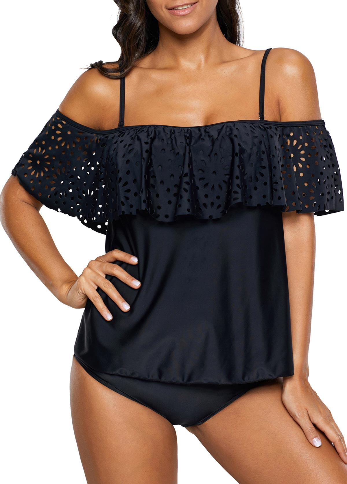 Patchwork Black Tankini Top and Panty