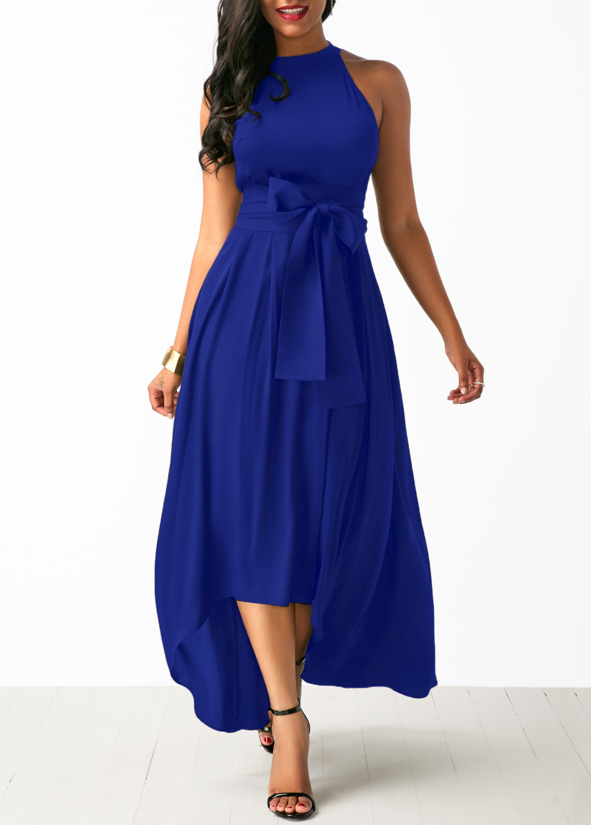 3f27d63f619 Royal Blue Cardigan and Belted Asymmetric Hem Dress