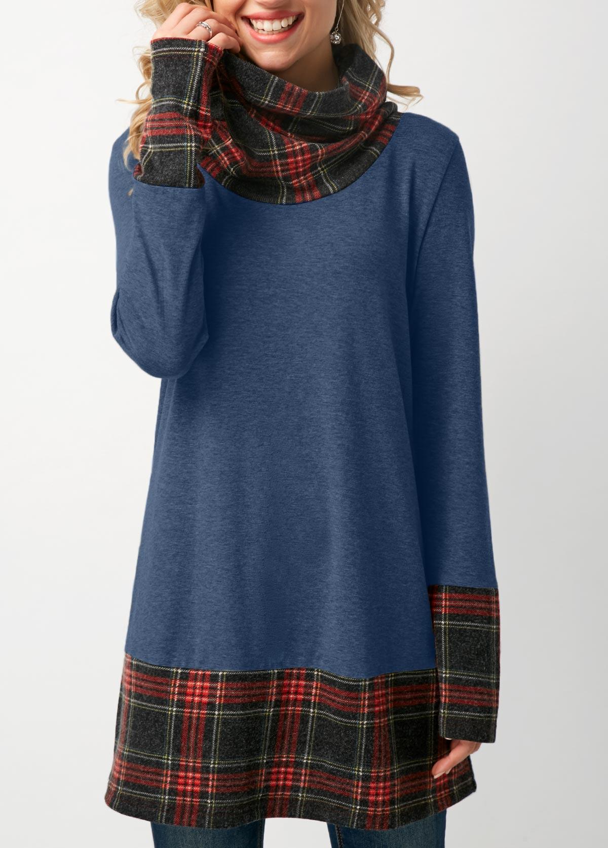 ROTITA Long Sleeve Cowl Neck Patchwork Plaid T Shirt