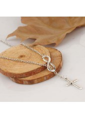 wholesale Cross Pendant Infinity Shape Silver Metal Necklace