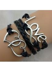 Love-and-Infinity-Shape-Embellished-Black-Braided-Bracelet