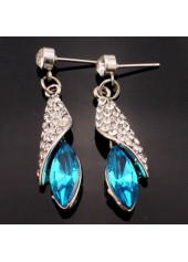 wholesale Blue Rhinestone Decorated Silver Metal Earrings