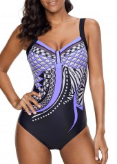 Printed-Open-Back-One-Piece-Swimwear