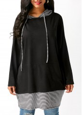 Long-Sleeve-Striped-Drawstring-Black-Hoodie
