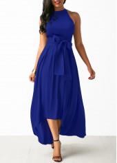 Royal Blue Cardigan and Belted Asymmetric Hem Dress