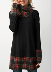 Plaid Cowl Neck Patchwork Dark Grey T Shirt