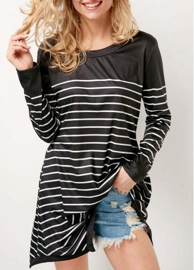 Long Sleeve Striped Round Neck Black T Shirt