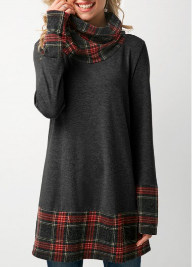 Plaid Cowl Neck Patchwork Dark Grey T Shirt