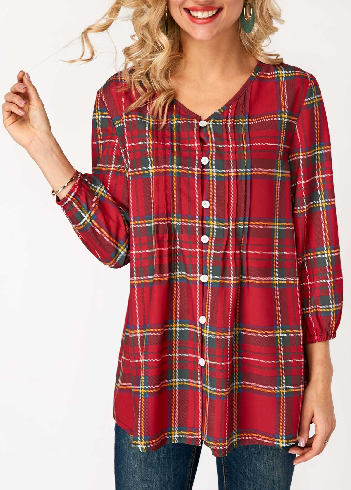 Blouson Sleeve Plaid Print V Neck Blouse