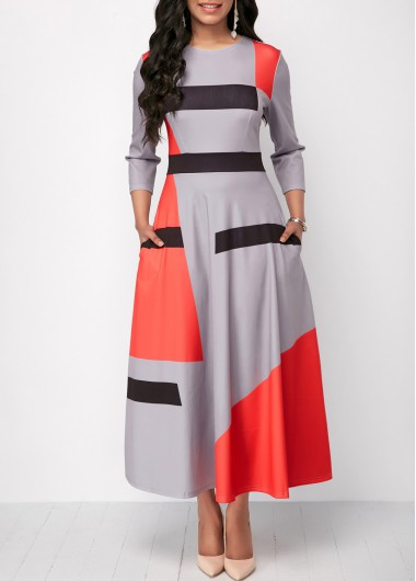 Printed Three Quarter Sleeve Pocket Dress