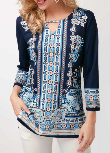 Cutout Front Three Quarter Sleeve Printed Blouse