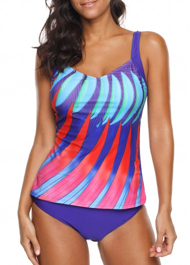 Open Back Padded Printed Tankini Top and Panty