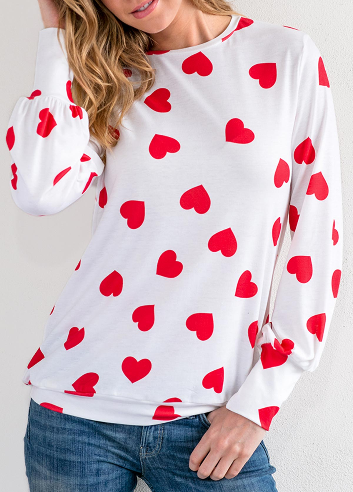 Round Neck Heart Print Blouson Sleeve T Shirt