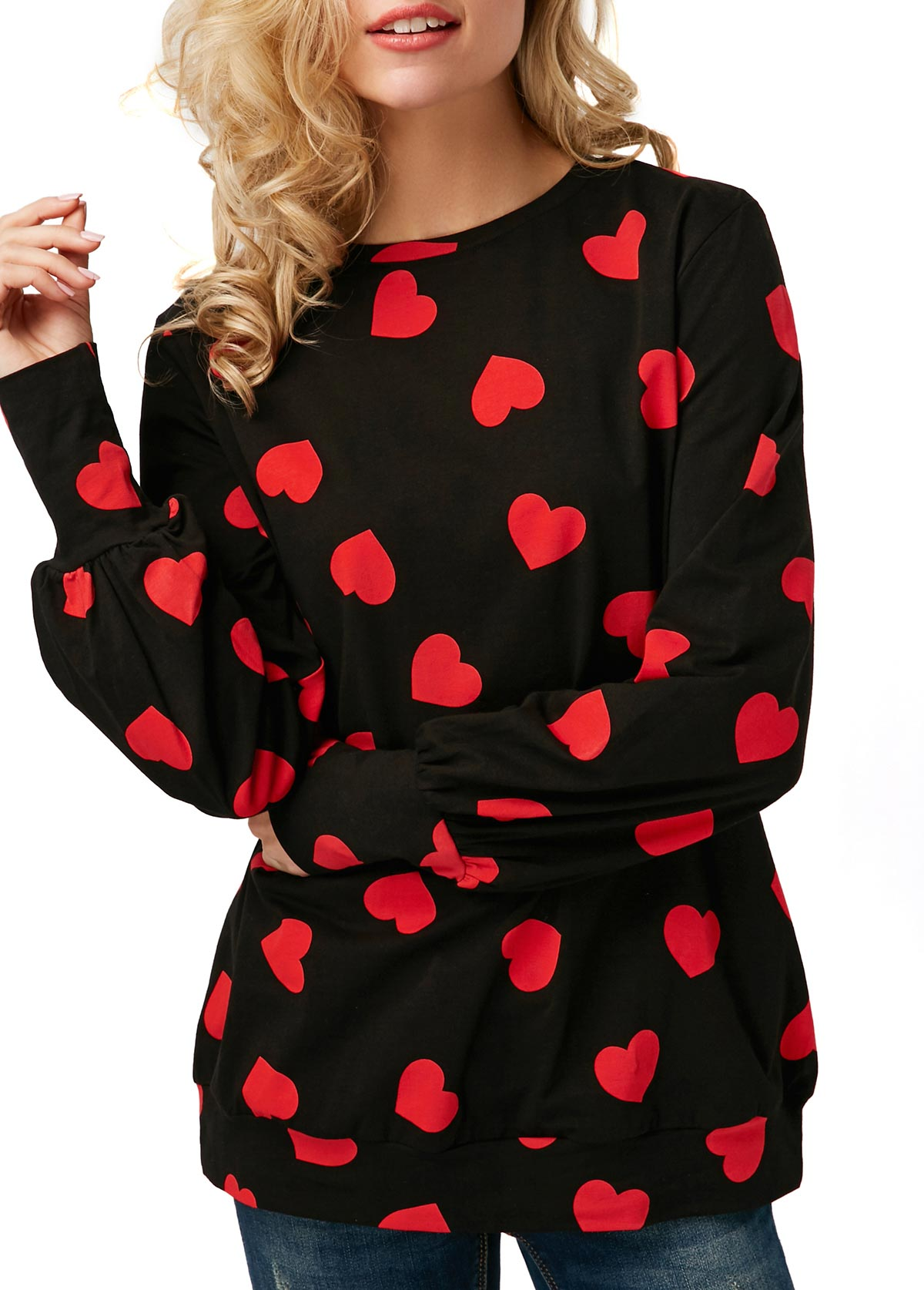 Heart Print Blouson Sleeve Round Neck T Shirt