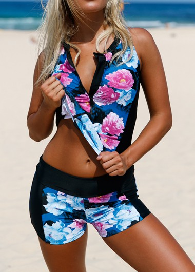 Zipper Front Flower Print Swimwear Top and Shorts