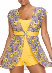 Flower-Print-Cap-Sleeve-One-Piece-Swimwear
