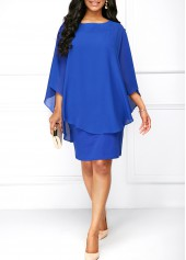 Overlay Round Neck Royal Blue Dress