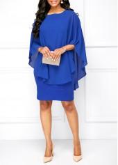wholesale Overlay Round Neck Royal Blue Dress