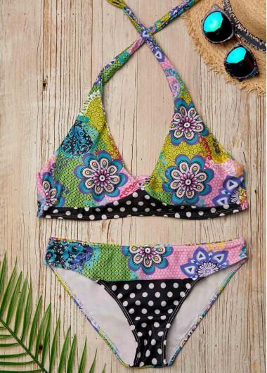 Flower Print Tie Back Halter Bikini Set