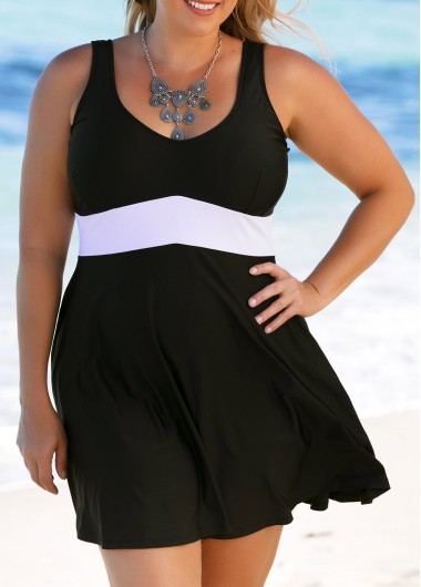 Plus Size Scoop Back Black Swimdress and Panty